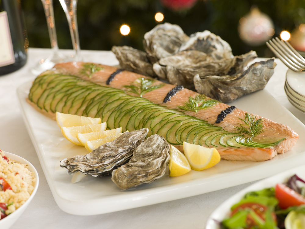 salmon and oysters could make a healthier alternative for christmas day lunch
