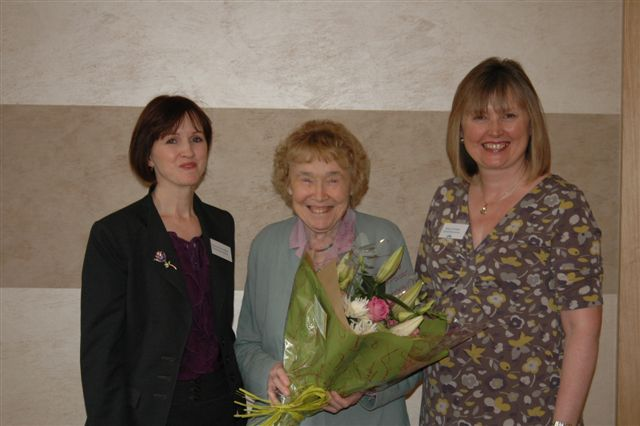Sandra with Dr Lorna Wing and the Chief Exec of the Burgess Autistic Trust, where Sandra and Laura both spoke