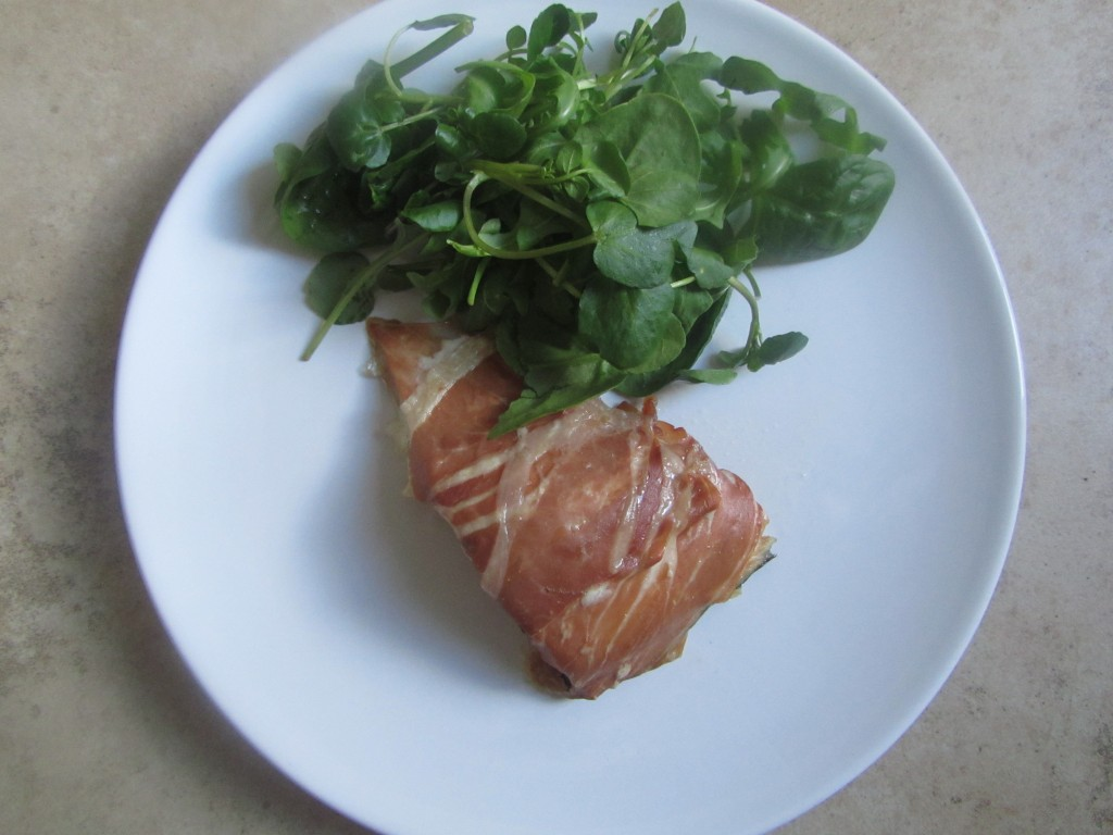 Salmon fillet wrapped in Parma ham