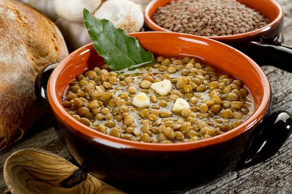 lentils soup on bowl