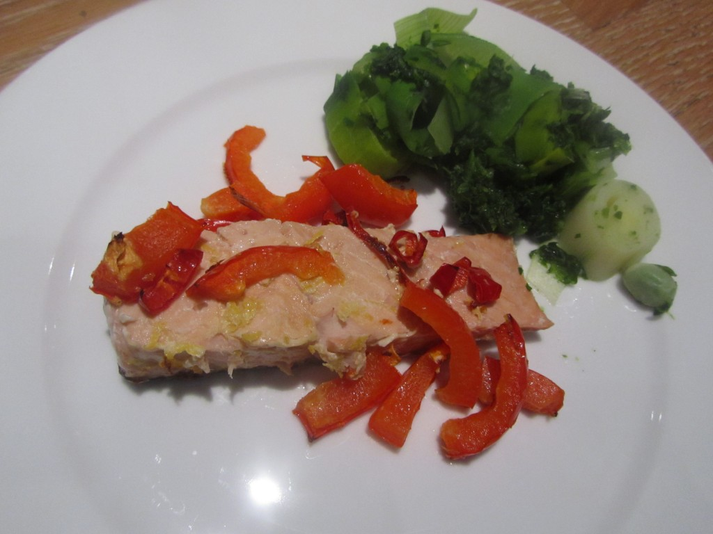 chilli, pepper and lemon salmon