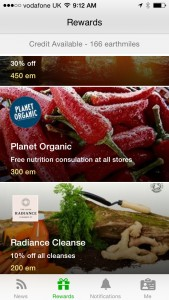 Earthmiles rewards page example
