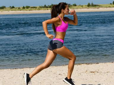 pink-woman-running-on-beach-5-best-weight-loss-retreats-in-Europe-by-Healthista.com