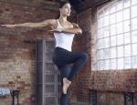 yoga model posing for fitness shoot we love replay leggings by healthista.