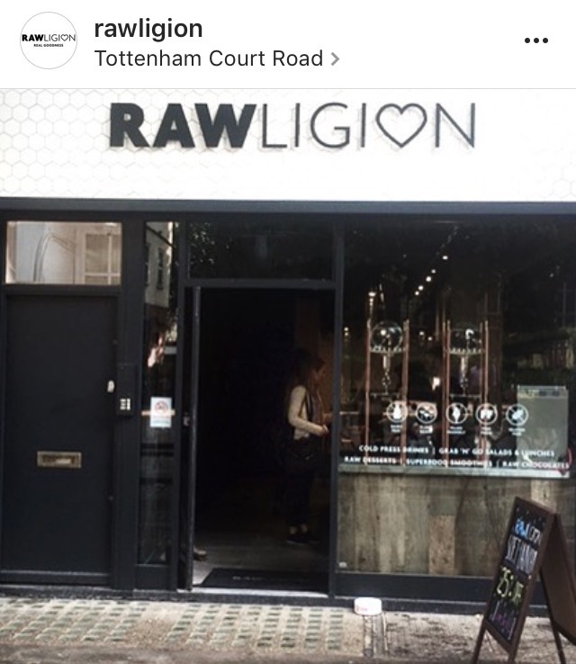 Rawligion front shop, best healthy restaurants in London, by healthista.com