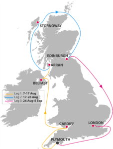 map of uk, join an all female science sail around the uk by healthista.com