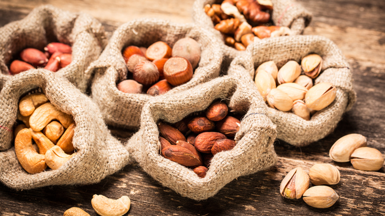 bags of nuts, what to eat for better skin by healthista.com