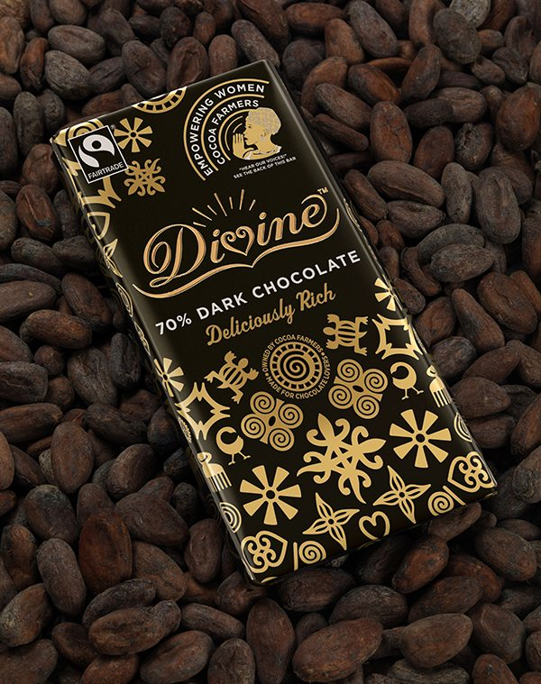 Divine 70% Dark Chocolate Women's bar on beans, best fairtrade foods, by healthista.com