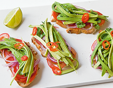 avocado bruschetta feat, meat-free Monday recipe avocado bruschetta by healthista