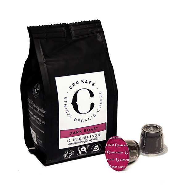 cru cafe dark roast pods, best fairtrade foods, by healthista.com