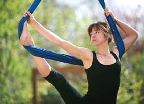hanging yoga foot