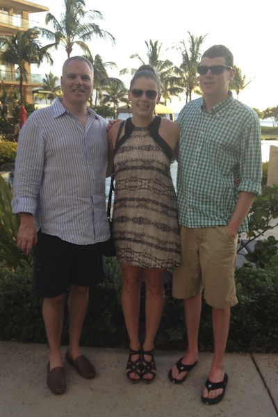 A gluten-free (and more slender) with her dad and brother early last summer.