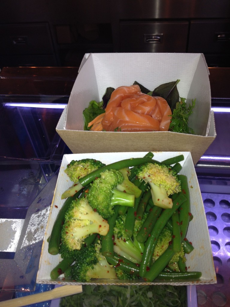 Sushi and veg, a typical lunch