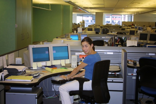 Genny at her desk at Reuters.