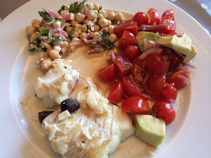 Cod with Chickpea and Tomato Salad