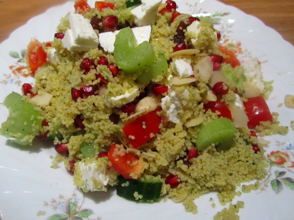 lemon and coriander couscous with feta cheese and flaked almonds