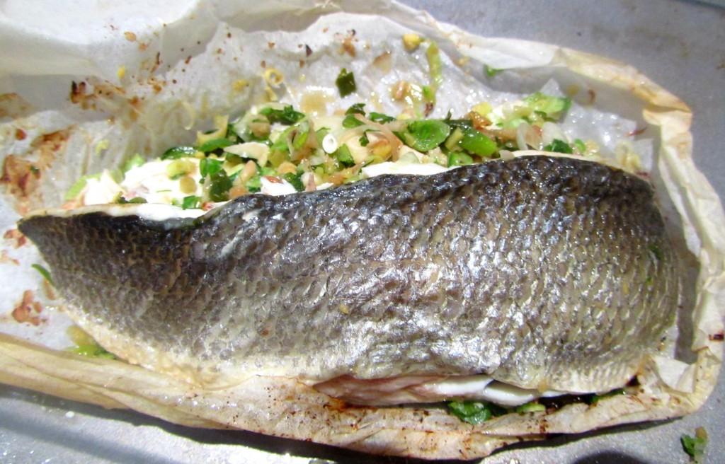 Asian sea bass en papillotte