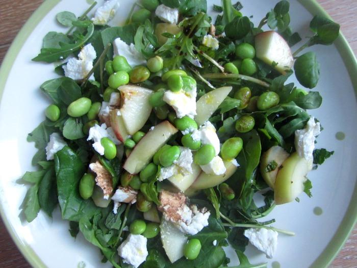 Nectarine, goats cheese and soya bean salad