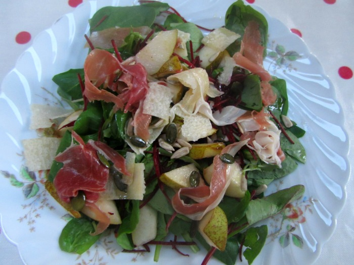Pear, Parmesan and Parma ham salad