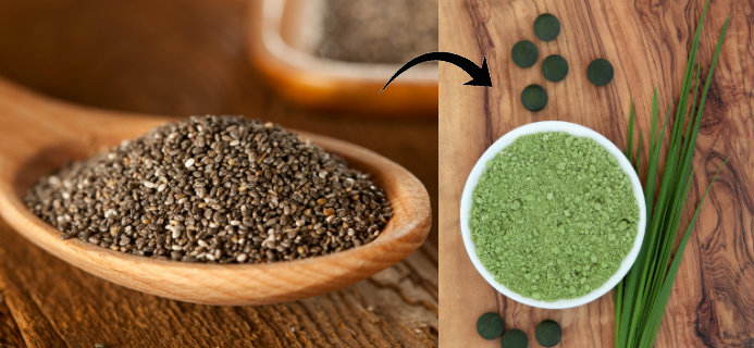 Chia Seeds and Spirulina, Superfood combinations, by Healthista.com