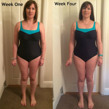 Karen's Week 1 & week 4 bikini image side by side, Body Makeover Challenge - Week 4, by Healthista.com