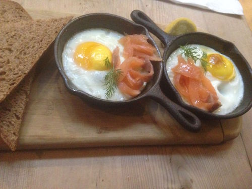 Baked organic eggs with smoked salmon and brown sourdough bread,Best healthy restaurants in London - Healthista eats Charlotte Dormon reveals what she ate this week, by Healthista.com
