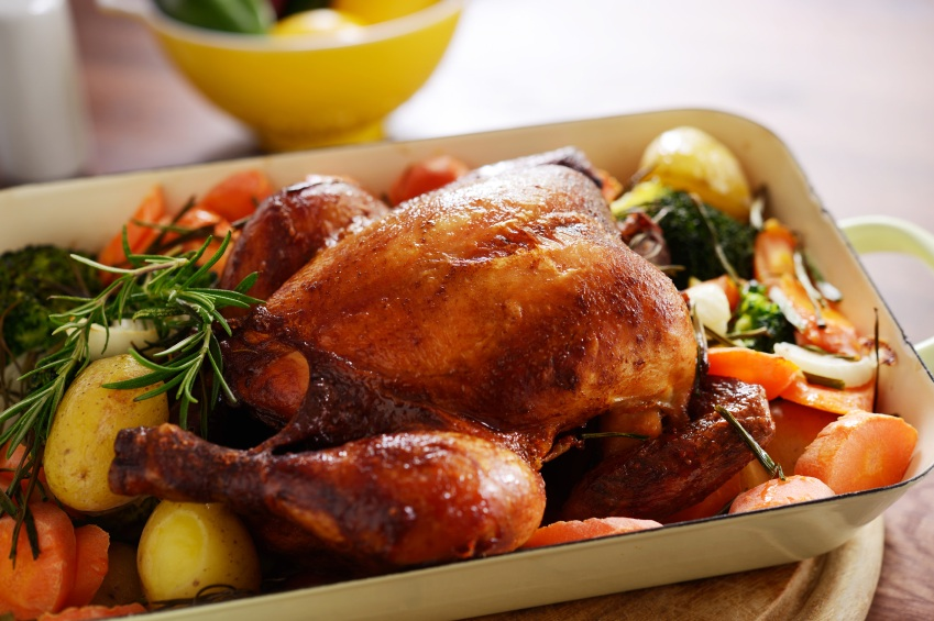 ROAST CHICKEN with trimmings in oven dish, 5 healthy dishes under a fiver, by Healthista.com