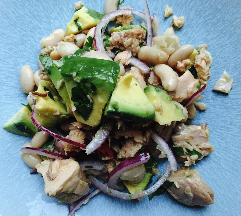 Tuna, avocado bean salad, 5 healthy dishes under a fiver, by Healthista.com