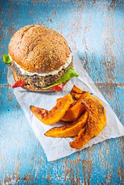 Portobello Pecan Burger with Roasted Pumpkin Wedges by Healthista.com