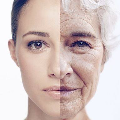 Image of woman when she was young and now aged sided by side, What is Thermal Ageing?, by Healthista.com