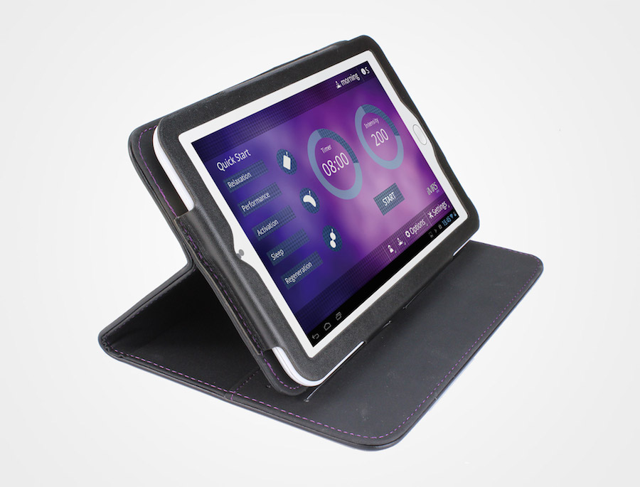 The android tablet in its leather case has an inbuilt biorhythm clock and knows which PEMF setting you need at which time of day.