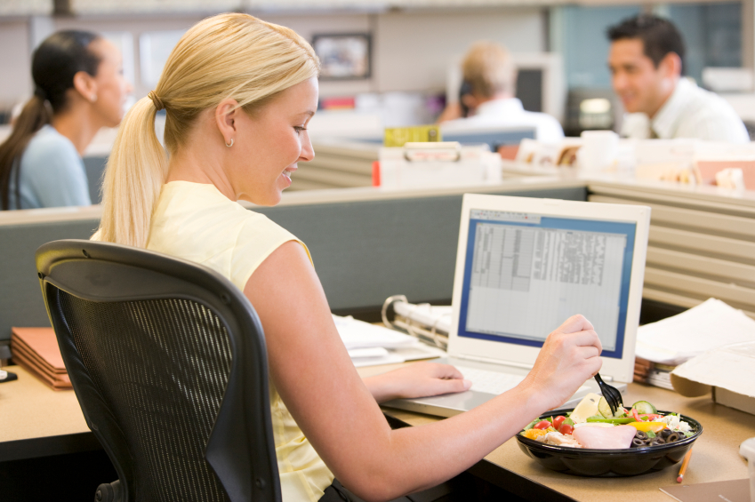 Eating at desk, Emotional eating HOW, by healthista.com