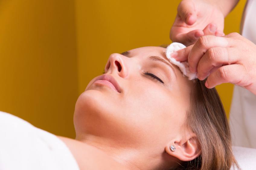 Woman is having cosmetic treatment at beauty salon.