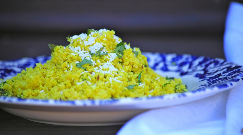 Cauliflower Rice with Coconut and Cumin, 5 foods for vegetarians, by healthista.com