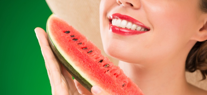 Eating watermelon, superfoods for skin, by healthiista.com