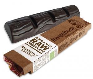 Lovechock Bar packshot Mulberry Vanilla, best vegan chocolate, by healthista.com