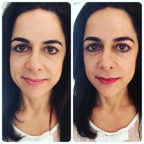 Anna Magee before and after lipstick, we love prevasore, by healthista
