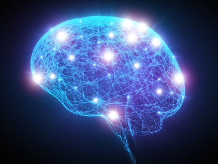 Blue brain on black background, 7 ways to boost your brain performance, by healthista