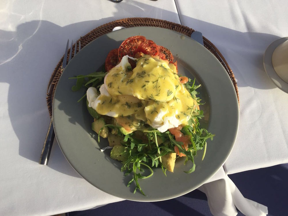Breakfast on day 6 of poached eggs with dairy-free Hollandaise on a bed of rocket and vegetables