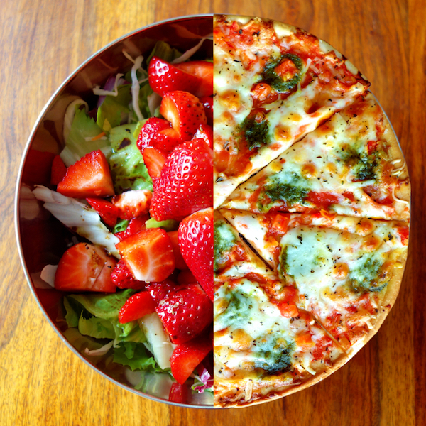 bowel of salad and half a pizza, 7 diet myths, by healthista