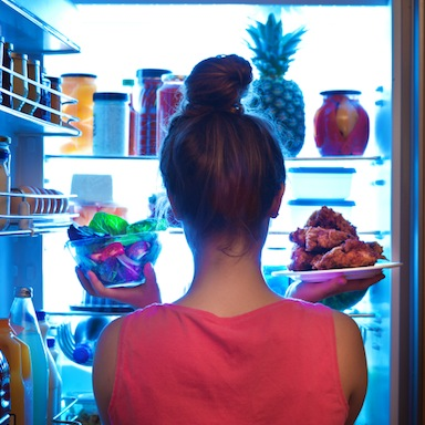 woman in front on fridge, 11 reasons you're always hungry, by healthista