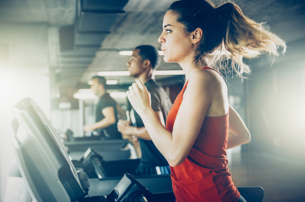 woman running on treadmill, 7 diet myths, by healthista