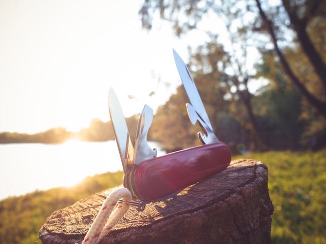 swiss pen knife, desert island, by healthista.com