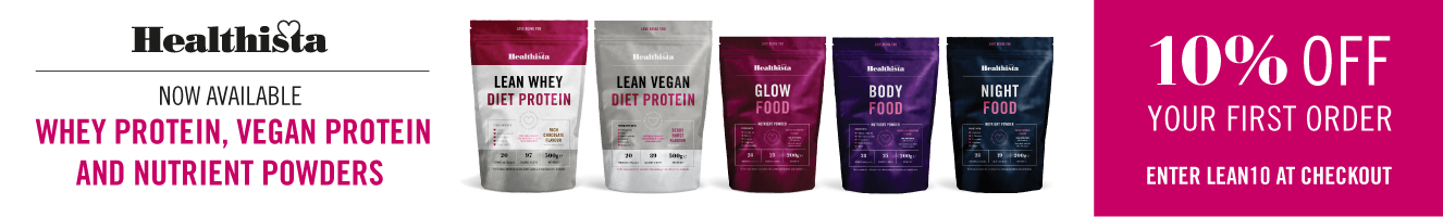 NEW 10% Discount banner healthista's new protein and superfood powders