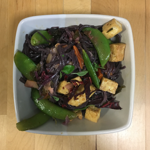 Black rice noodles and smoked tofu - my Spring Green evening meal