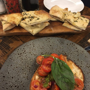 garlic bread and bruschetta, Eating out as a vegan - 4 week no meat, egg or dairy challenge by healthista