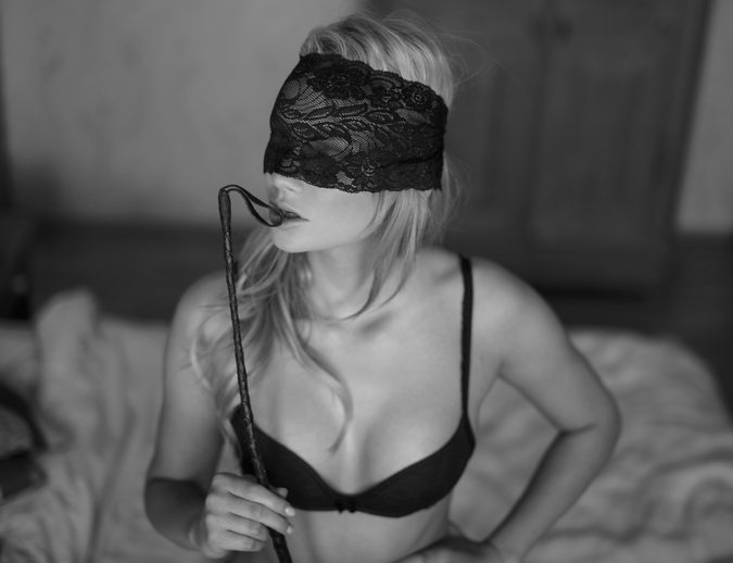 Sexy woman with lace eye cover and whip bw,Beginners Guide to BDSM, by Healthista.com