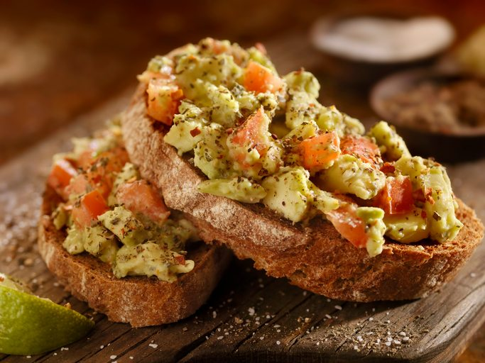Toasts with sliced avocado, top 10 tips simple tips to make sure you eat 10-a-day, by healthista.com