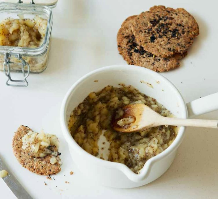Chia and poached pear spread