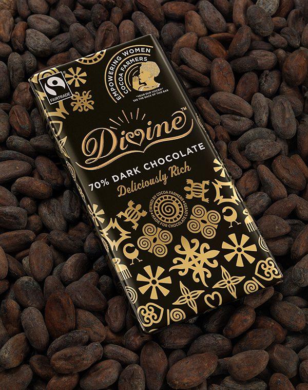 Divine 70% Dark Chocolate Women's bar on beans, best fairtrade foods, by healthista.com